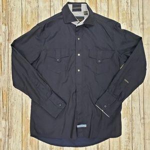 Men's Scott Weiland Blue/Black Long Sleeve Shirt.